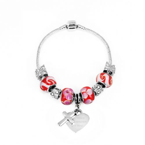 Personalised Cross Charm Bracelet - Cherry Red - 18cm